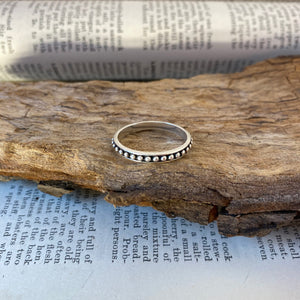 Silver Ring • Studs with Oxydation • 925 Sterling Silver