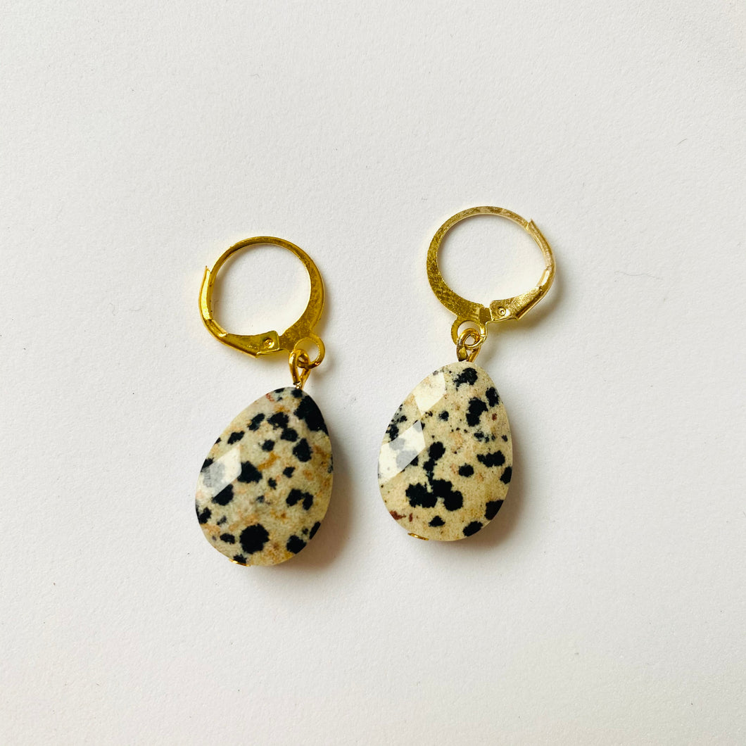 Faceted Dalmatian Jasper ❥ Drop Earrings