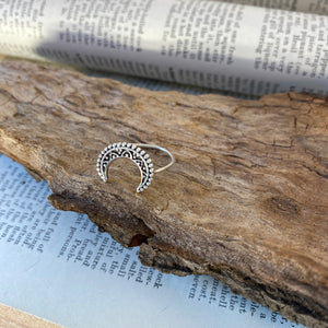 Silver Ring • Moon Crescent • 925 Sterling Silver