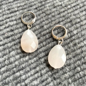Faceted Pink Aventurine ❥ Drop Earrings