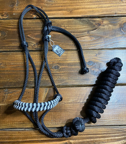 RAD Black/White 2-Knot Rope Halter w/ Lead