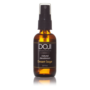 Doji natural deodorant, bottle product shot, desert sage scent, amber glass spray bottle, on white background with reflection.