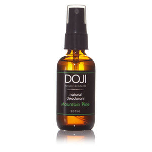 Doji natural deodorant, bottle product shot, mountain pine scent, amber glass spray bottle, on white background with reflection.