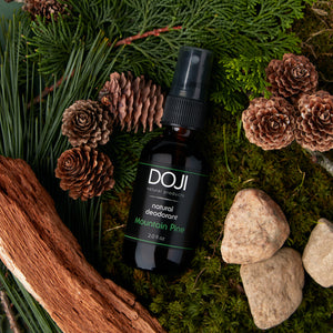 Doji natural deodorant, mountain pine scent, overhead shot on pine needles, pine cones, fir pine, cedar wood, and pebbles