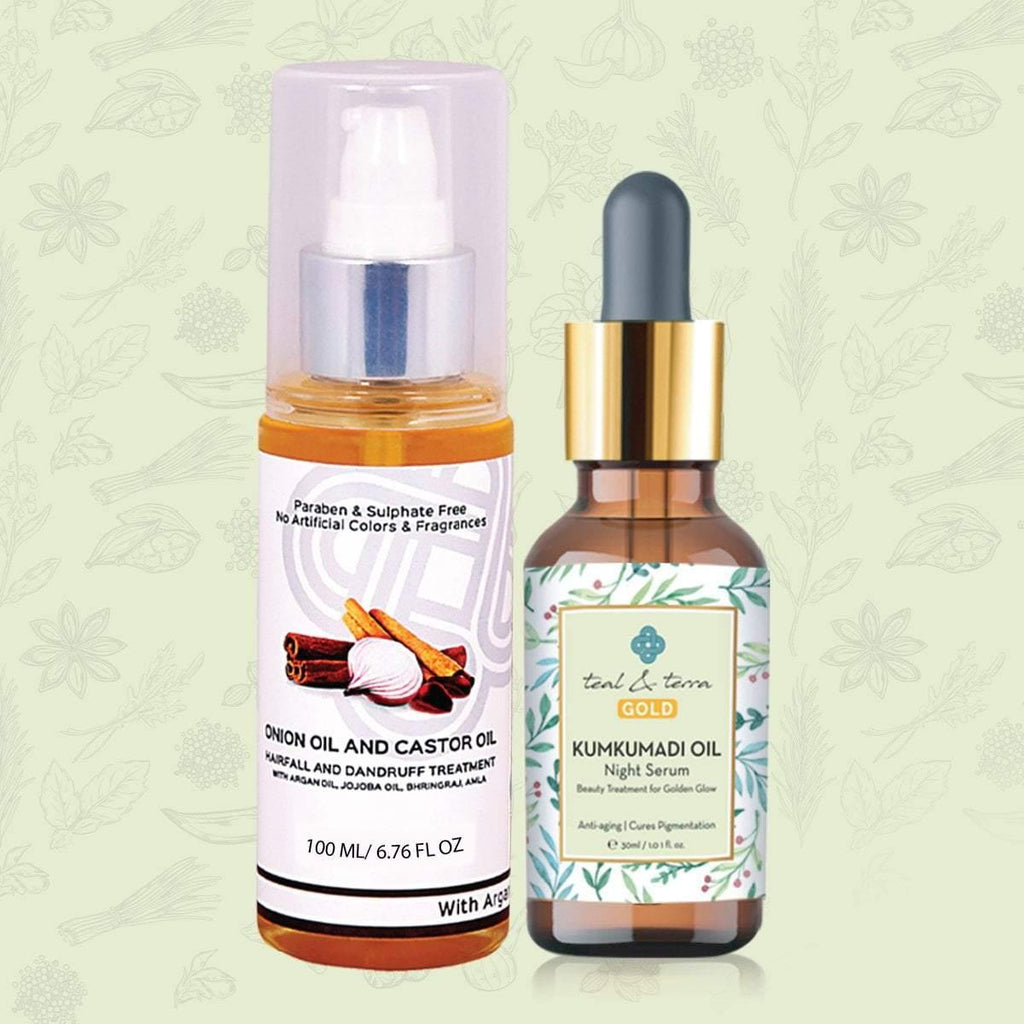 Skin and Hair Care- Kumkumadi Oil with Onion & Castor Oil