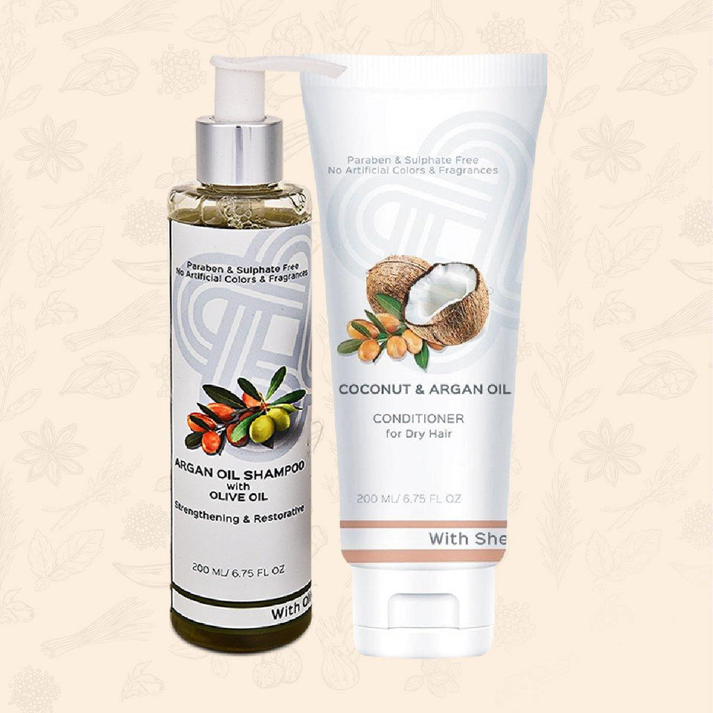 Argan Oil Hair Strengthening Pack - Argan Oil Shampoo + Conditioner with Shea Butter
