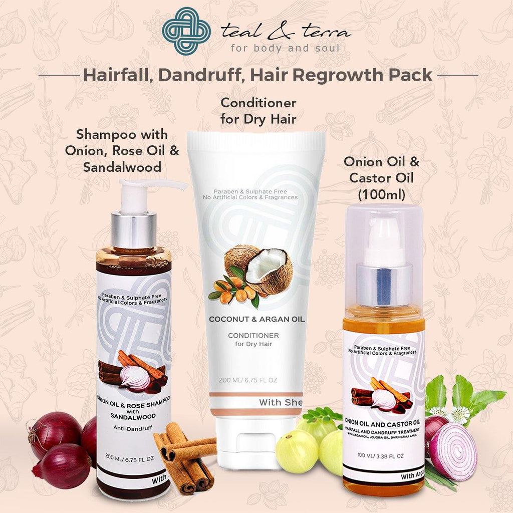 Hair Regrowth Pack-Onion Shampoo, Conditioner, Onion & Castor Oil