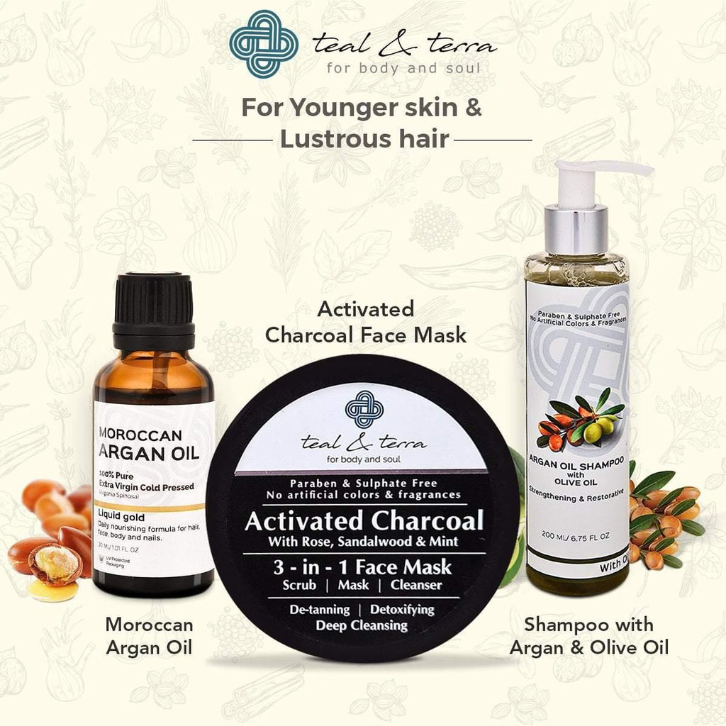 Teal & Terra Complete Care Combo with Charcoal Scrub and Mask, Argan Oil and Shampoo