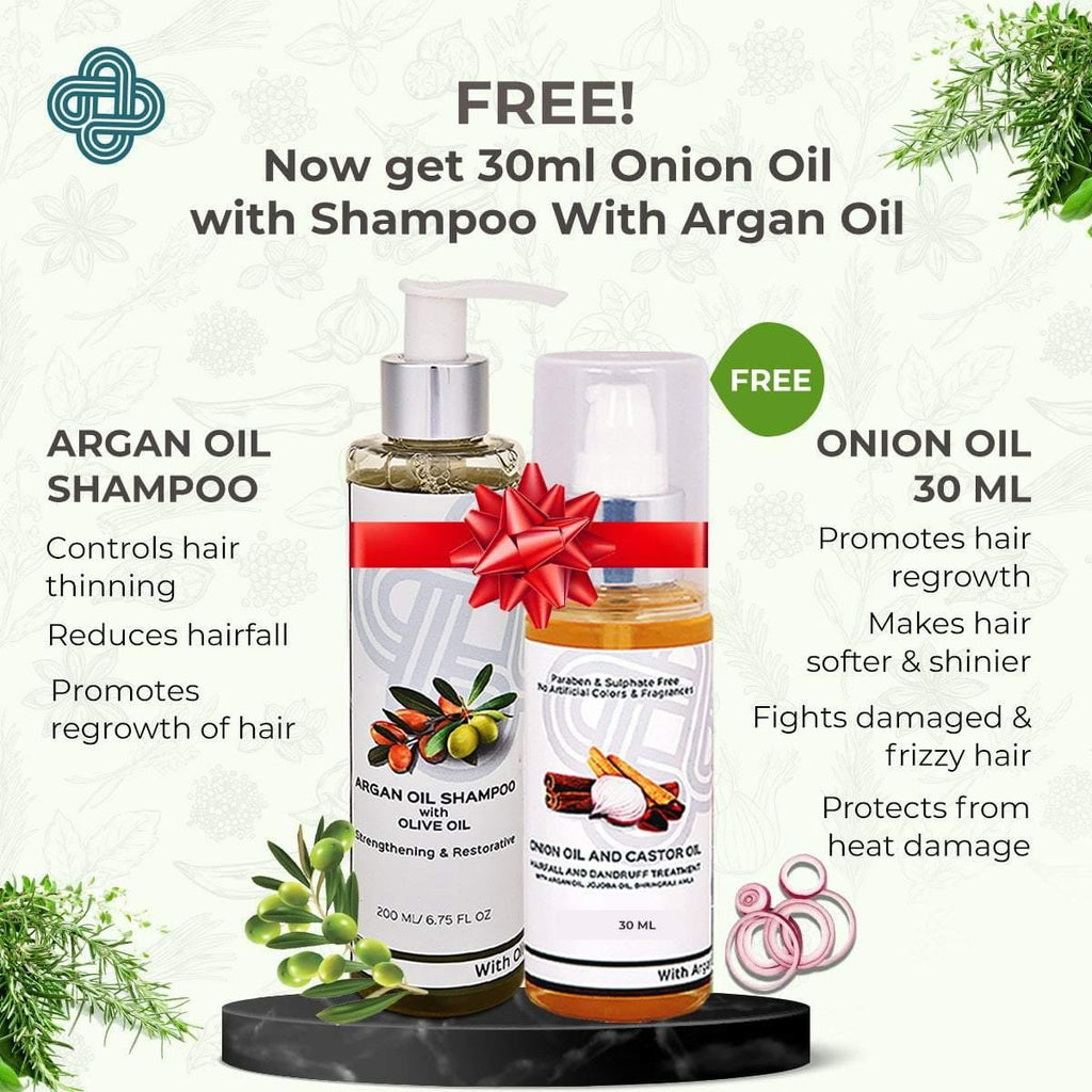 Shampoo with Argan & Olive Oil+ Hairfall & Dandruff Treatment Oil 30 ml