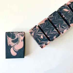 charcoal detox natural soap with activated charcoal, rose clay, and antimicrobial essential oils