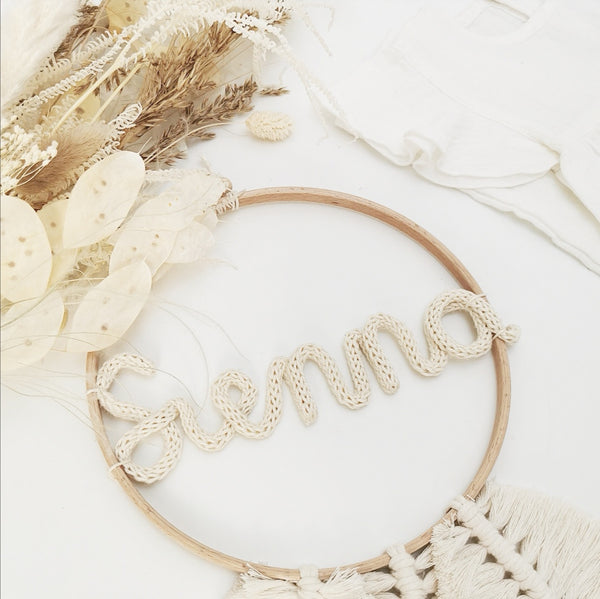 MACRAME FEATHER - KNITTED NAME