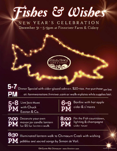 LIMITED NUMBER OF WALK-IN PLATES WILL BE AVAILABLE AT EVENT: NYE Salmon Dinner Special, featuring Finnriver Cider Glazed Wild Salmon