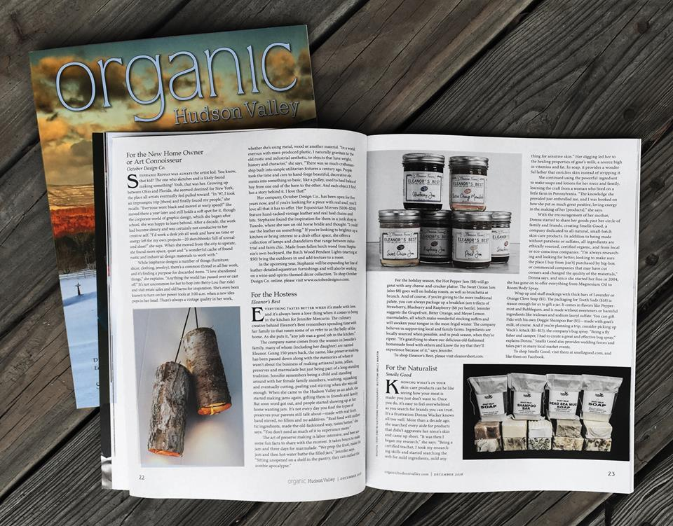 Industrial Designer Stephanie Reppas feature, Organic Hudson Valley Magazine, Dec. 2016