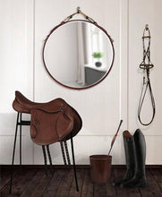 "Load image into Gallery viewer, 24"" Classic Buffalo Leather Equestrian Mirror"