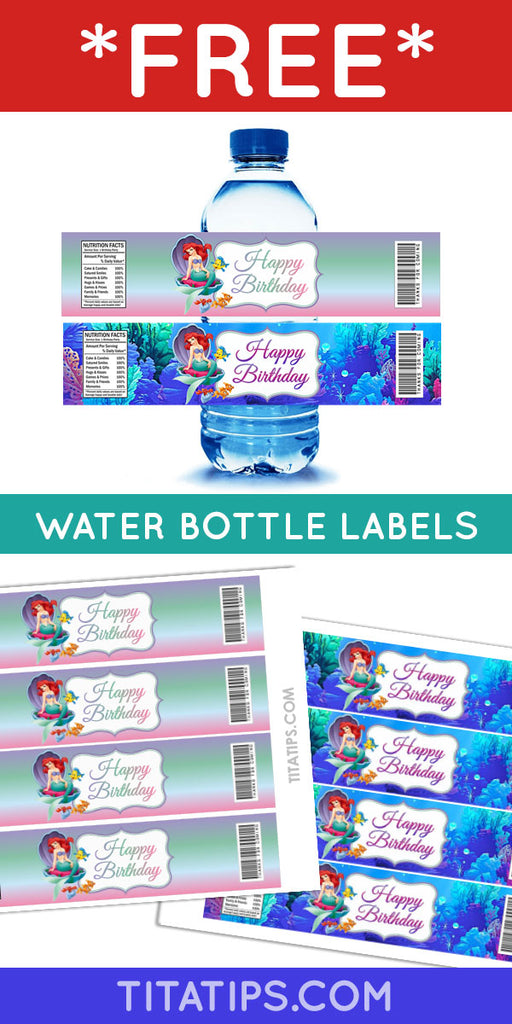 👉 FREEBIE 🐚 Ariel, The Little Mermaid 🧜‍♀️ Printable Water Bottle Label