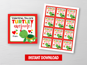 You are TURTLEY Awesome Valentine Card, Turtle Square Gift Tags, School Exchange Ideas, INSTANT DOWNLOAD - TitaTipsPrintables