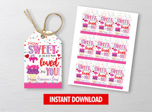 How Sweet it is to be LOVED by you Valentine Card, Ice Cream Gift Tag, School Exchange Ideas, INSTANT DOWNLOAD - TitaTipsPrintables
