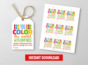 You COLOR the world with happiness Gift Tags, Crayons Favor Tags, School Exchange Ideas, INSTANT DOWNLOAD - TitaTipsPrintables
