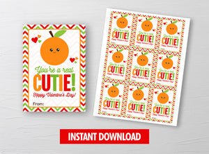 You're a Cutie Valentine Card, Orange Juice, Tangerine Fruit Gift Tag, School Exchange Ideas, INSTANT DOWNLOAD - TitaTipsPrintables