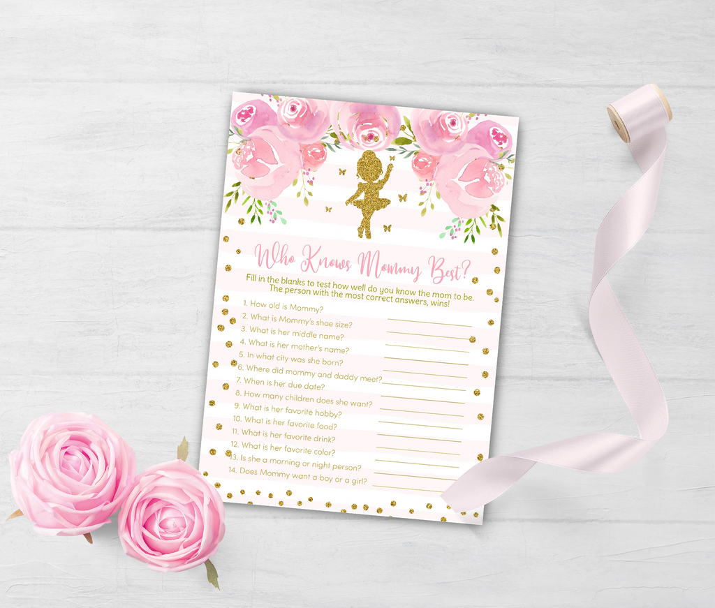 Ballerina Printable Who Knows Mommy Best Game, Tutu Dancer Baby Shower Activity, Instant Download - TitaTipsPrintables