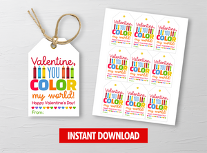 You COLOR my world Gift Tags, Crayons Favor Tags, School Exchange Ideas, INSTANT DOWNLOAD - TitaTipsPrintables