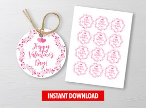 Leaves Wreath Gift Tags, Valentine Round Label, Staff Exchange Ideas, INSTANT DOWNLOAD - TitaTipsPrintables