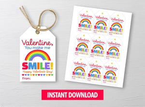 You make me SMILE Gift Tags, Rainbow Favor Tags, School Exchange Ideas, INSTANT DOWNLOAD - TitaTipsPrintables