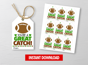 You are a GREAT CATCH Valentine's Day Card, Football Gift Tags, School Exchange Ideas, INSTANT DOWNLOAD - TitaTipsPrintables