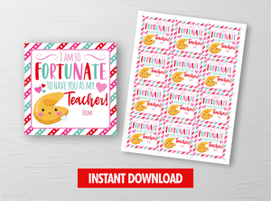 Fortunate to have you as my Teacher Valentine Card, Fortune Cookie Square Gift Tags, School Exchange Ideas, INSTANT DOWNLOAD - TitaTipsPrintables