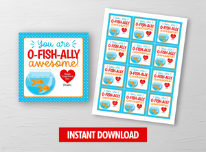 You are OFISHALLY Awesome Valentine  Card, GoldFish Square Gift Tags, School Exchange Ideas, INSTANT DOWNLOAD - TitaTipsPrintables