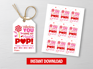 You make my heart POP Favors Tag, Lollipop Gift Tags, School Exchange Ideas, INSTANT DOWNLOAD - TitaTipsPrintables
