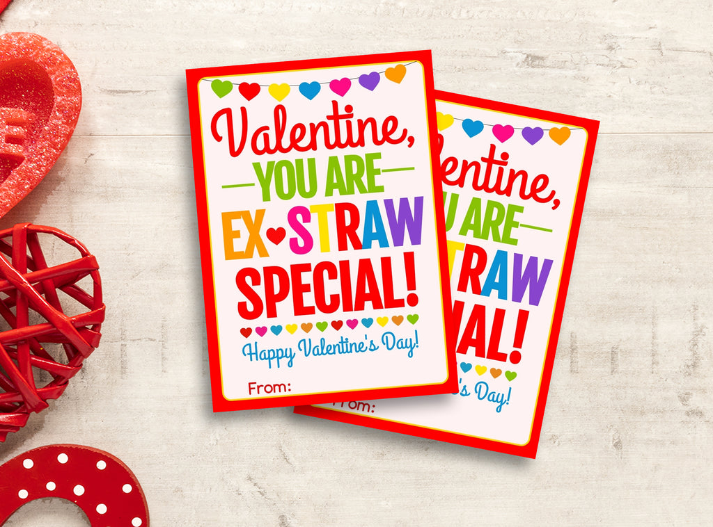 Ex-STRAW Special Valentine Card, Girly Silly Crazy Straw Gift Tags, School Exchange Ideas, INSTANT DOWNLOAD - TitaTipsPrintables