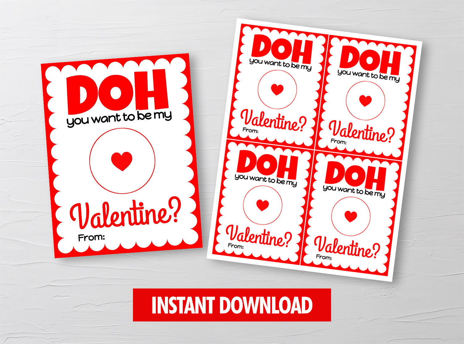 DOH you want to be my Valentine? Red Card Holder, Play Dough Preschool Exchange Ideas, INSTANT DOWNLOAD - TitaTipsPrintables