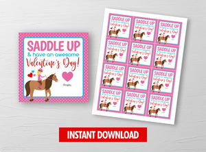 Horse Rodeo Valentine Card, Cowgirl Square Gift Tags, School Exchange Ideas, INSTANT DOWNLOAD - TitaTipsPrintables