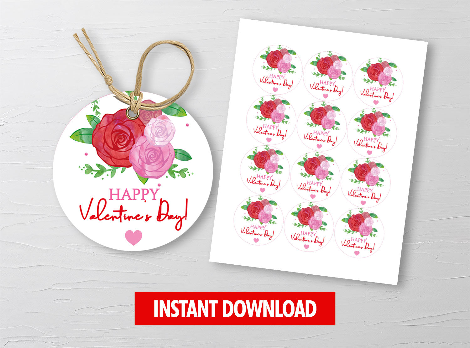 Watercolor Roses Arrangement Gift Tags, Valentine Round Label, Staff Exchange Ideas, INSTANT DOWNLOAD - TitaTipsPrintables