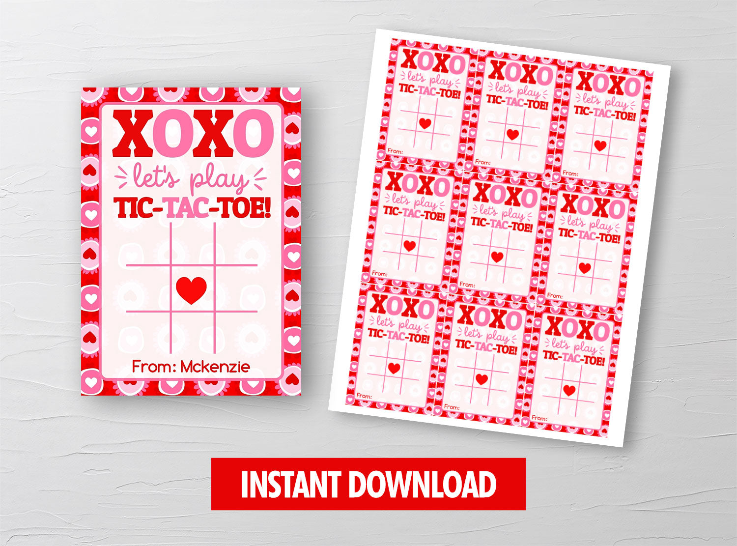 Tic Tac Toe Game Valentine Card, Xoxo Valentine Tag, School Exchange Ideas, INSTANT DOWNLOAD - TitaTipsPrintables