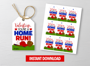 You are a HOME RUN Valentine's Day Card, Baseball Gift Tags, School Exchange Ideas, INSTANT DOWNLOAD - TitaTipsPrintables