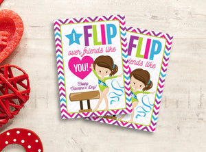 I FLIP over friends like you Valentine Card, Girl Gymnastics Gift Tags, School Exchange Ideas, INSTANT DOWNLOAD - TitaTipsPrintables