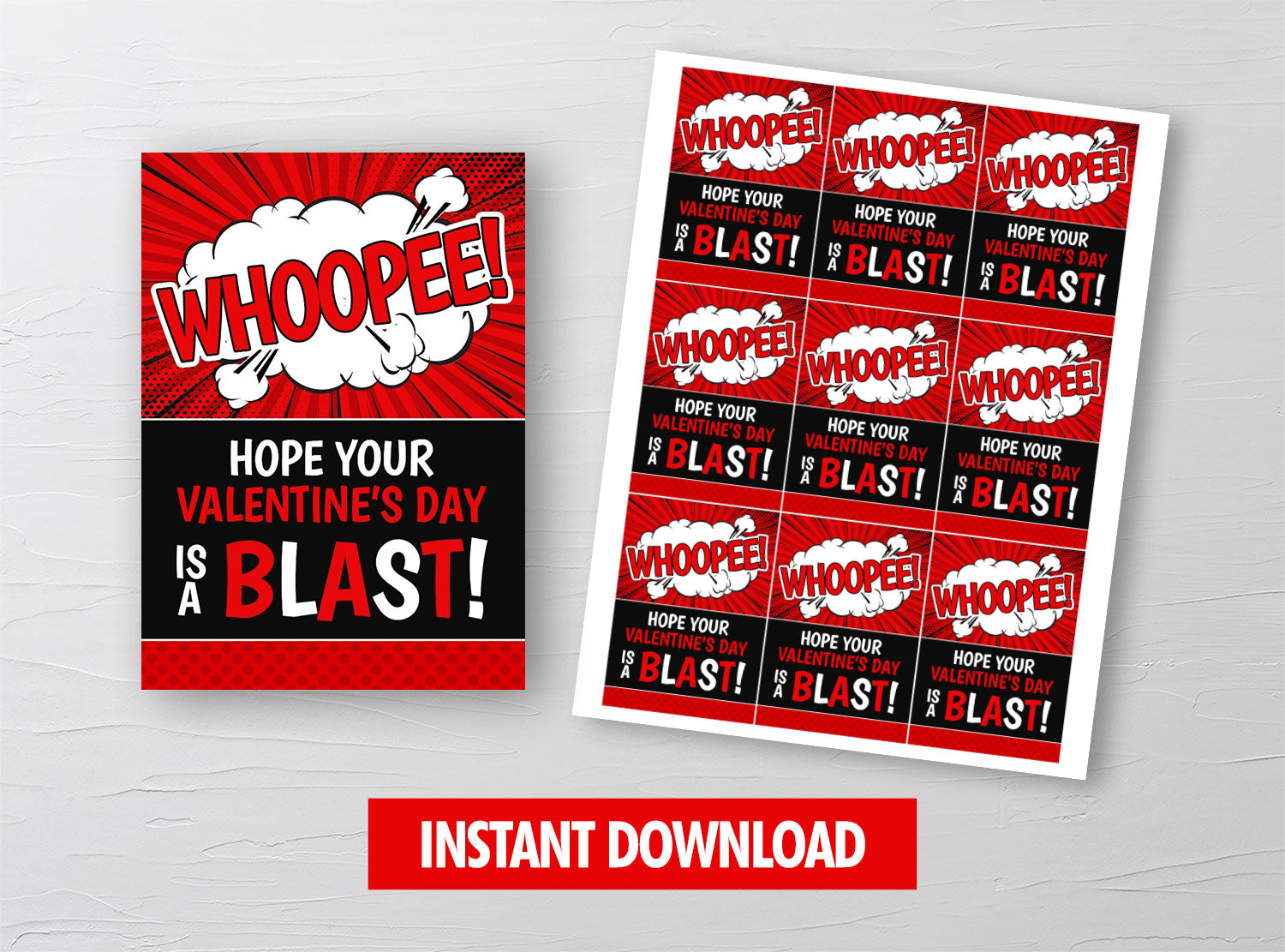 Whoopee Cushion Valentine Card, Whoopie Gift Tag, School Exchange Ideas, INSTANT DOWNLOAD - TitaTipsPrintables