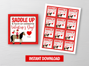 Horse Rodeo Valentine Card, Cowboy Square Gift Tags, School Exchange Ideas, INSTANT DOWNLOAD - TitaTipsPrintables