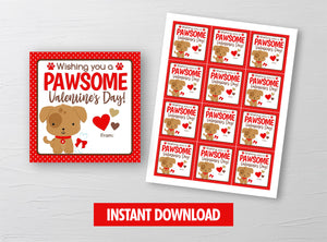 Have a PAWSOME Valentine's Day Card, Puppy, Doggy, Dog Square Gift Tags, School Exchange Ideas, INSTANT DOWNLOAD - TitaTipsPrintables