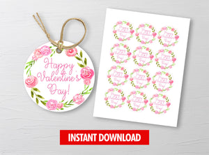 Watercolor Floral Wreath Gift Tags, Valentine Round Label, Staff Exchange Ideas, INSTANT DOWNLOAD - TitaTipsPrintables