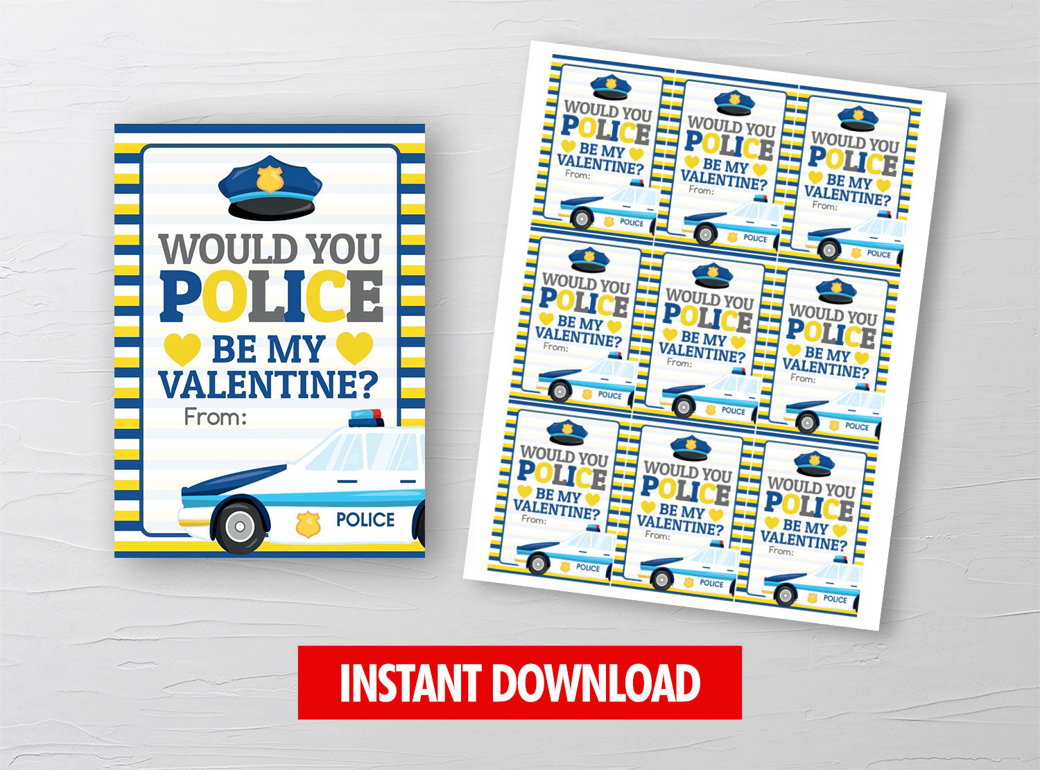 Would you POLICE be my Valentine Card, Policeman Car Gift Tag, School Exchange Ideas, INSTANT DOWNLOAD - TitaTipsPrintables
