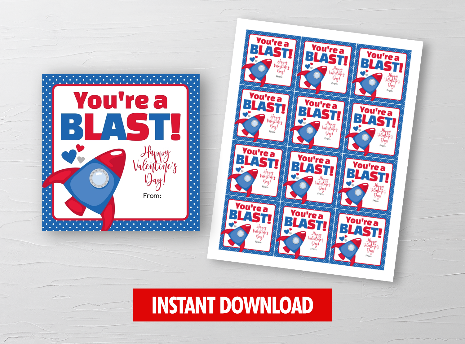 You're a BLAST Valentine Card, Rocket Ship Square Gift Tags, School Exchange Ideas, INSTANT DOWNLOAD - TitaTipsPrintables