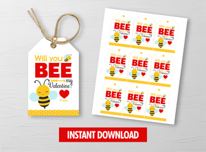 Will you BEE my Valentine  Card, Honey Balm Label, Chapstick Gift Tags, School Exchange Ideas, INSTANT DOWNLOAD - TitaTipsPrintables