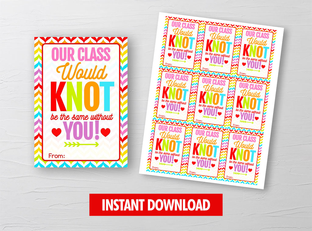 Class Would Knot be the Same without You Valentine Card, Girl Hair Tie Friendship Bracelet Gift Tag, School Exchange Ideas, INSTANT DOWNLOAD - TitaTipsPrintables