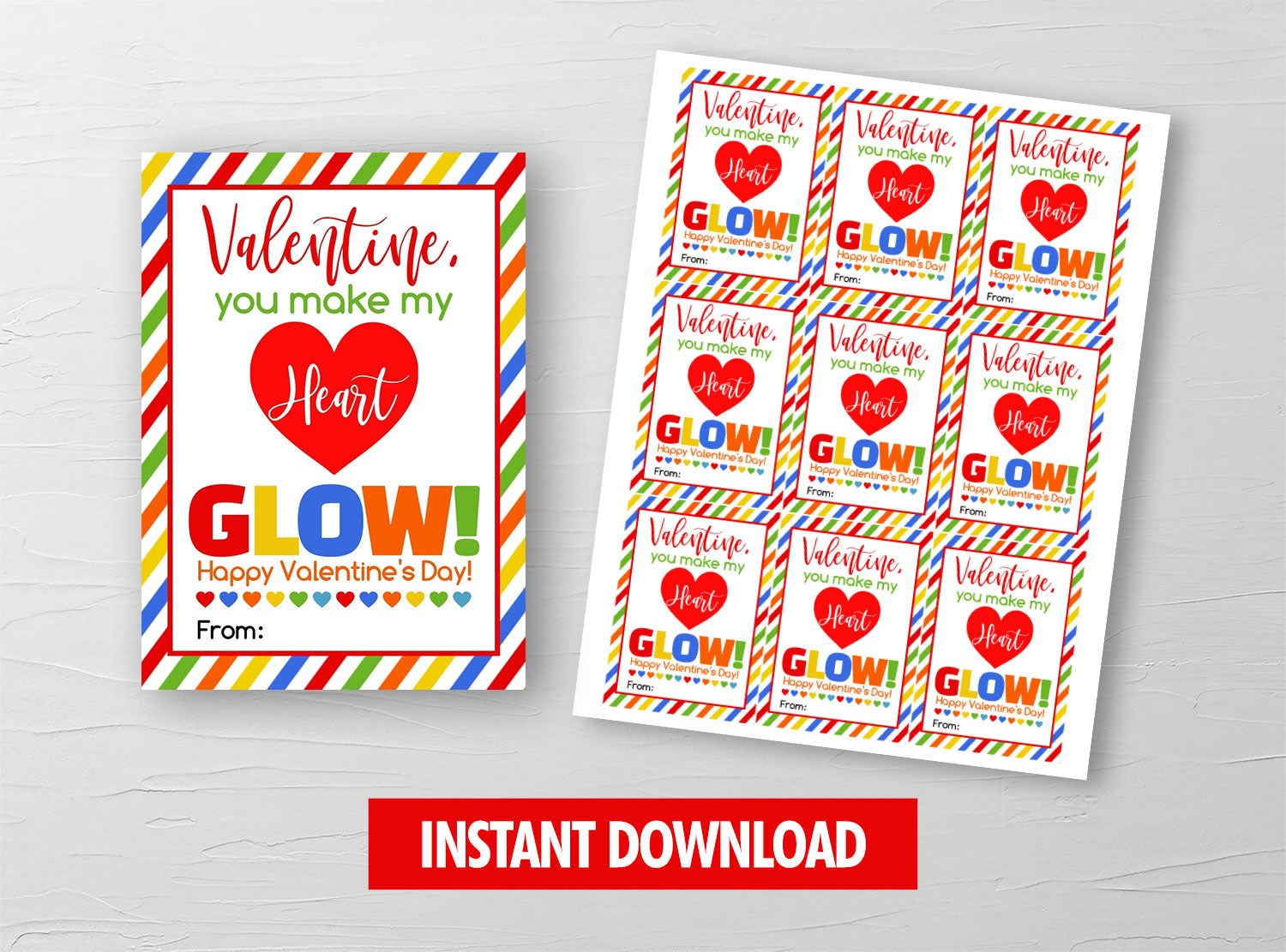 You make my heart GLOW Valentine Card, Glow Sticks Gift Tags, School Exchange Ideas, INSTANT DOWNLOAD - TitaTipsPrintables