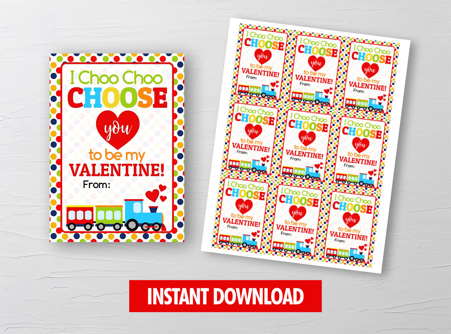 I Choo Choo Choose You Valentine Card, Train Gift Tag, School Exchange Ideas, INSTANT DOWNLOAD - TitaTipsPrintables