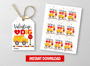 I DIG you Valentine  Card, Construction Truck Gift Tags, School Exchange Ideas, INSTANT DOWNLOAD - TitaTipsPrintables
