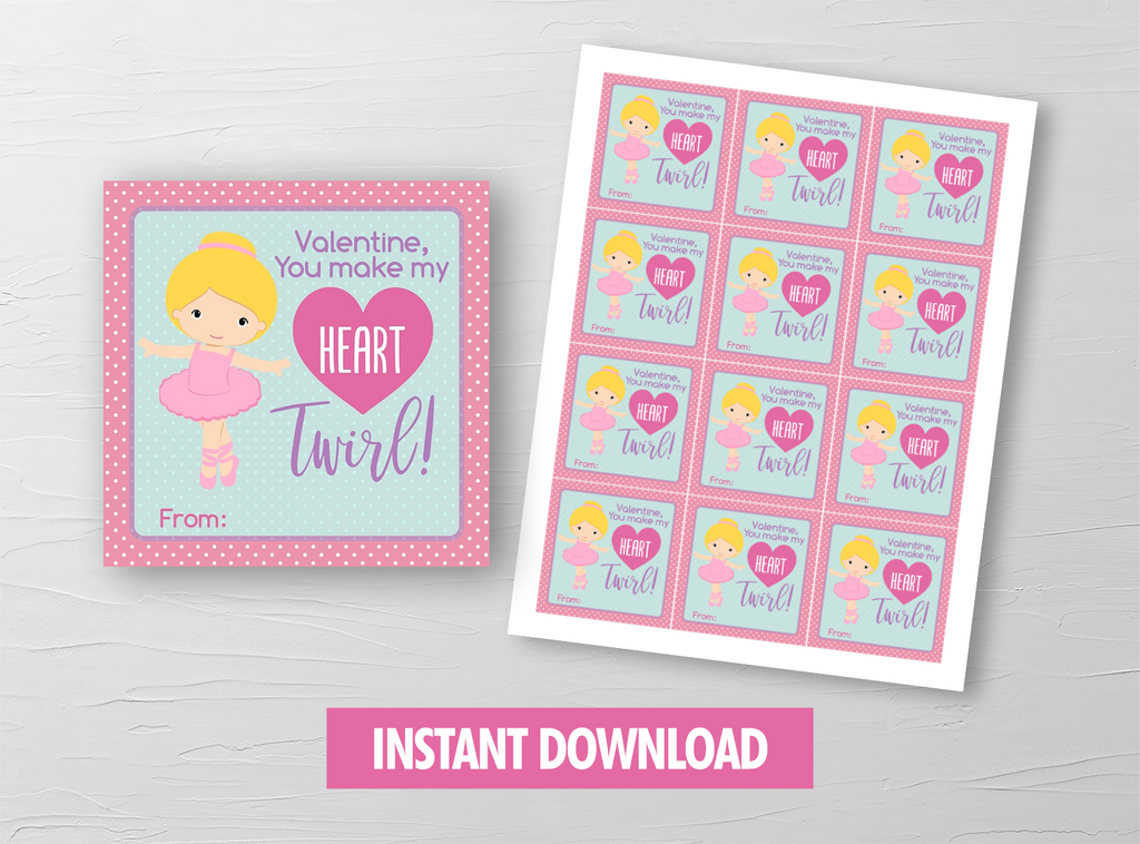 You Make My Heart Twirl Valentine Card, Ballerina, Ballet Recital Square Gift Tags, School Exchange Ideas, INSTANT DOWNLOAD - TitaTipsPrintables